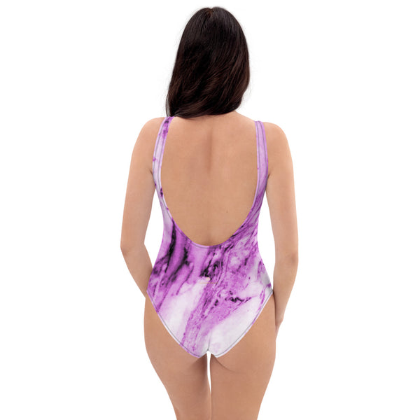 Pink Marble One-Piece Swimsuit, Women's Marble Print Designer Swimwear-Made in USA/EU-Heidi Kimura Art LLC-Heidi Kimura Art LLC