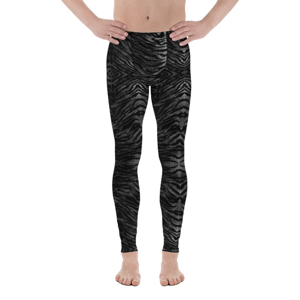 Black Tiger Striped Print Meggings, Sexy Animal Print Designer Men's Leggings-Heidikimurart Limited -Heidi Kimura Art LLC Black Tiger Striped Print Meggings, Sexy Animal Print Designer Men's Leggings Tights Pants - Made in USA/MX/EU (US Size: XS-3XL) Sexy Meggings Men's Workout Gym Tights Leggings, Compression Tights