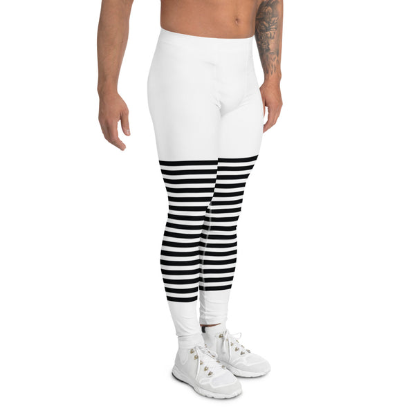 Classic Modern Striped Men's Leggings, Best Meggings For Men-Made in USA/EU-Heidikimurart Limited -Heidi Kimura Art LLC