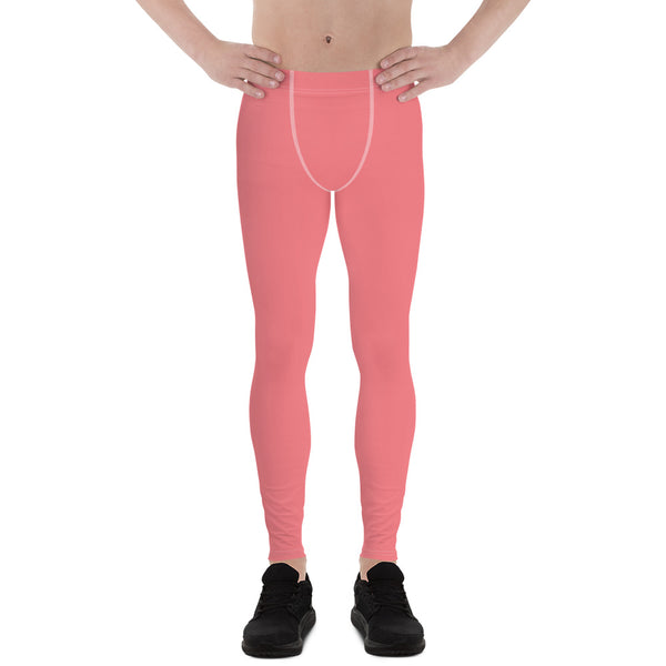 Peach Pink Solid Color Premium Soft Men's Leggings- Made in USA/EU (US Size: XS-3XL)-Men's Leggings-XS-Heidi Kimura Art LLC