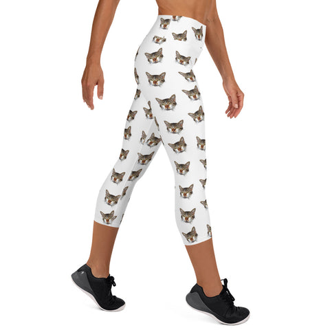 White Peanut Meow Calico Cat Women's Yoga Capri Leggings Pants-Made in USA/EU--Heidi Kimura Art LLC White Cat Capri Leggings, Cat Print Dressy Tight Pants, Peanut Calico Peanut Cat Print Women's Yoga Capri Leggings Pants- Made in USA/EU, Calico Cat Clothing, Calico Cat Women's Leggings, Cat Print Women's Leggings, Cat Print Leggings, Cat Running Tights, Pants With Cats On Them, Cat Leggings, Cat Leggings For Women Who Love Kitties, Calico Women's Clothes, Cat Running Tights