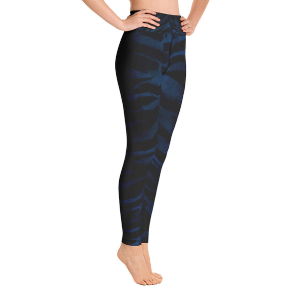 Women's Black & Blue Tiger Stripe Animal Print Fitted Leggings- Made in USA-Leggings-Heidi Kimura Art LLC Blue Tiger Striped Leggings, Women's Black & Blue Tiger Stripe Animal Skin Pattern Active Wear Fitted Leggings Sports Long Yoga & Barre Pants - Made in USA/EU