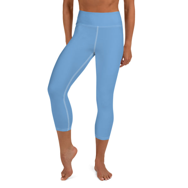 Bridesmaid Graphic Text Printed Premium Quality Baby Blue Women's Yoga Capri Leggings Pants, Bridesmaid Gift, Made in USA (US Size: XS-XL)