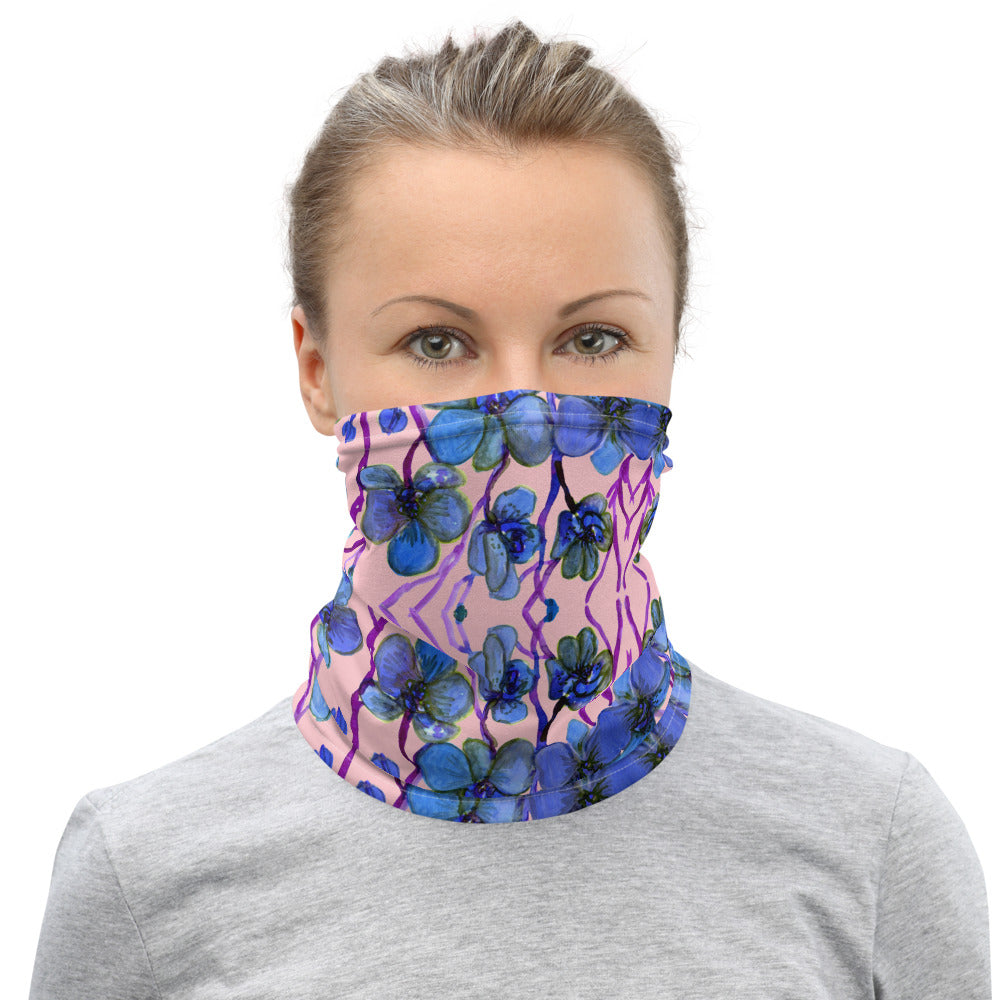 Pink Blue Orchids Floral Face Mask, Reusable Washable Neck Gaiter-Heidi Kimura Art LLC-Heidi Kimura Art LLC Blue Pink Orchids Face Mask, Orchid Flower Floral Print Luxury Premium Quality Cool And Cute One-Size Reusable Washable Scarf Headband Bandana - Made in USA/EU, Face Neck Warmers, Non-Medical Breathable Face Covers, Neck Gaiters