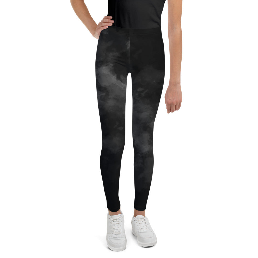 Black Abstract Youth's Leggings, Clouds Print Premium Youth Sports Tights-Made in USA-Youth's Leggings-8-Heidi Kimura Art LLC