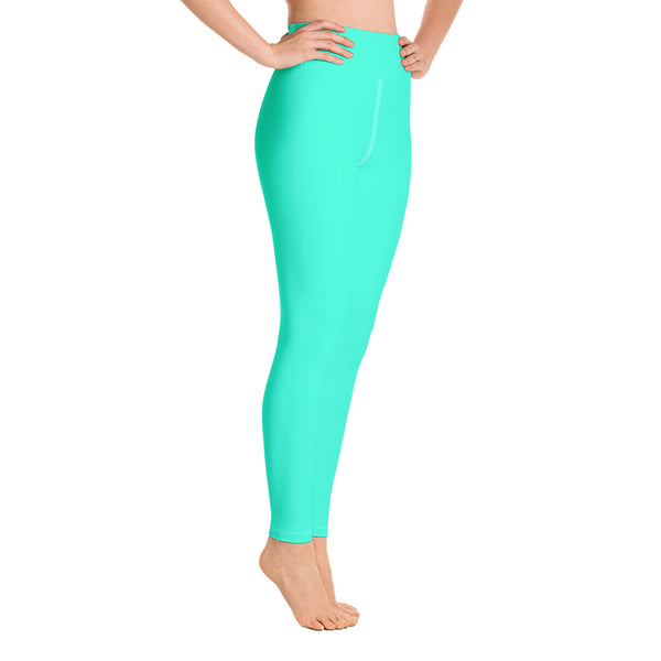 Women's Turquoise Blue Yoga Pants, Bright Solid Color Workout Tights, Made in USA/EU-Leggings-Heidi Kimura Art LLC Turquoise Blue Women's Leggings, Women's Turquoise Blue Bright Solid Color Yoga Gym Workout Tights, Long Yoga Pants Leggings Pants,Plus Size, Soft Tights - Made in USA/EU, Women's Turquoise Blue Solid Color Active Wear Fitted Leggings Sports Long Yoga & Barre Pants (US Size: XS-XL)