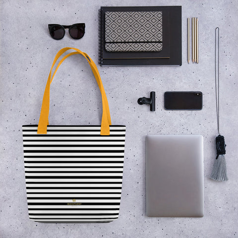 "Black Horizontal Striped Tote Bag, White 15"" x 15"" Striped Market Bag- Made in USA/EU-Tote Bag-Heidi Kimura Art LLC"
