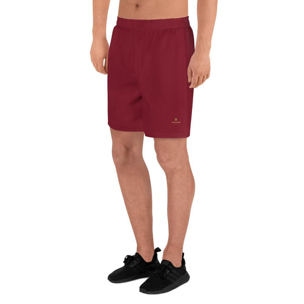 Crimson Red Solid Color Slim Fit Premium Men's Athletic Long Shorts - Made in Europe-Men's Long Shorts-Heidi Kimura Art LLC Crimson Red Men's Shorts, Crimson Red Solid Color Print Premium Quality Men's Athletic Long Fashion Shorts (US Size: XS-3XL) Made in Europe