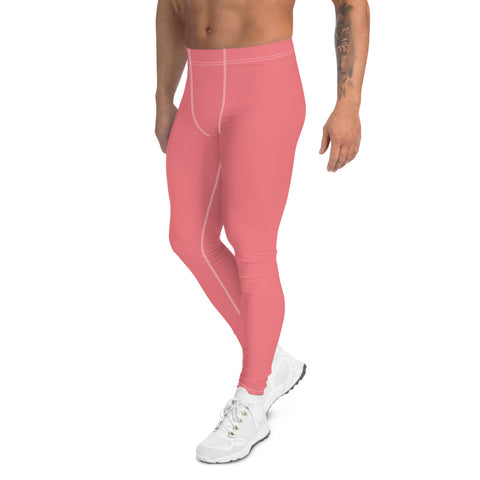 Peach Pink Men's Leggings, Solid Color Meggings Compression Run Tights-Made in USA/EU-Heidi Kimura Art LLC-Heidi Kimura Art LLC Peach Pink Solid Color Men's Leggings, Simplistic Pastel Modern Sexy Meggings Men's Workout Gym Tights Leggings, Men's Compression Tights Pants - Made in USA/ EU (US Size: XS-3XL)