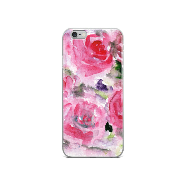 Hot Pink French Rose Floral Print iPhone X | XS | XR | XS Max | 8 | 8+ | 7| 7+ |6/6S | 6+/6S+ Case- Made in USA-Phone Cases-iPhone 6/6s-Heidi Kimura Art LLC