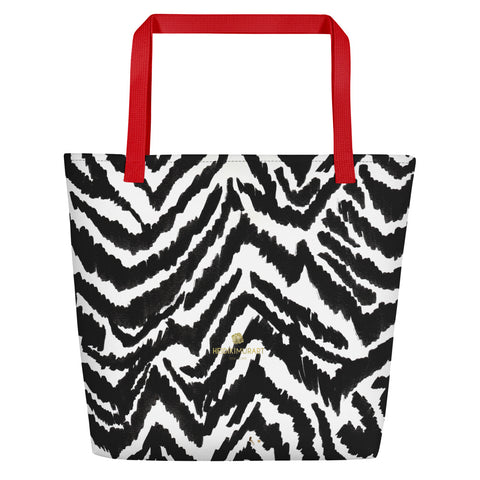 "Modern Black White Zebra Animal Pattern Print Large Tote 16""x20"" Beach Bag- Made in USA/EU-Beach Tote Bag-Red-Heidi Kimura Art LLC"