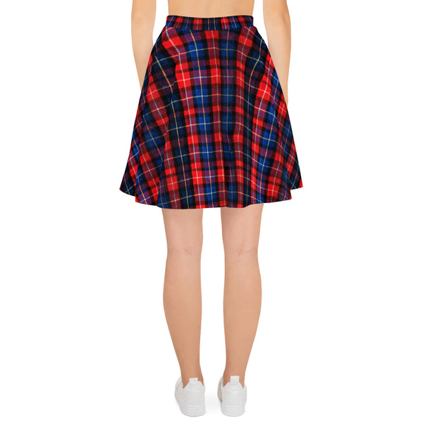 Christmas Red Plaid Tartan Scottish Print High-Waisted Women's Skater Skirt - Made In Europe-Skater Skirt-Heidi Kimura Art LLC