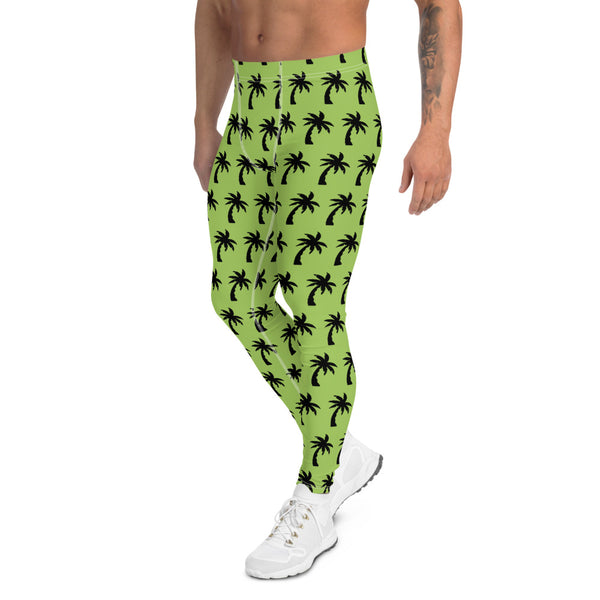 Green Palm Tree Men's Leggings, Tropical Hawaiian Palm Trees Meggings-Made in USA/EU-Heidikimurart Limited -Heidi Kimura Art LLC Green Palm Tree Meggings, Palm Tree Surf Men's Leggings, Hawaiian Style Meggings Compression Tights, Surf Leggings For Men Printed Tropical Palm Trees Meggings, Palm Tree Leggings, Men's Modern Meggings, Men's Leggings Tights Pants - Made in USA/EU (US Size: XS-3XL) Sexy Meggings Men's Workout Gym Tights Leggings
