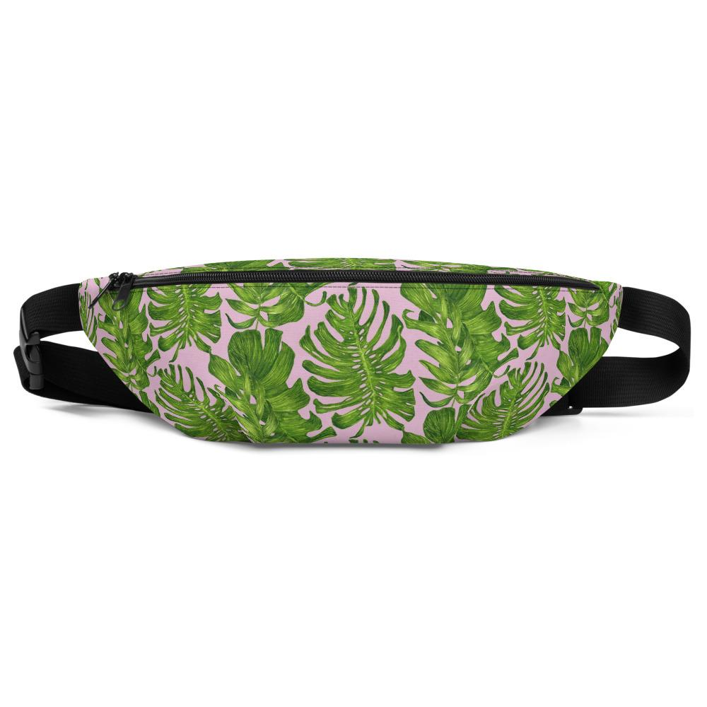 Light Pink Green Tropical Leaf Print Waist Belt Bag Fanny Pack Belt Bag- Made in USA/EU-Fanny Pack-S/M-Heidi Kimura Art LLC