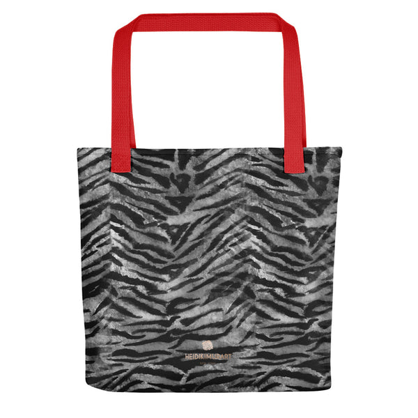 "Gray Tiger Striped Print Tote Bag, Grey Animal Print 15"" x 15"" Tote Bag-Made in USA/EU-Tote Bag-Red-Heidi Kimura Art LLC"