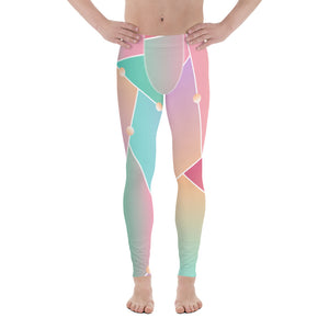 Ombre Pink Orange Graphic Abstract Pattern Men's Leggings Tights Pants Meggings-Men's Leggings-XS-Heidi Kimura Art LLC