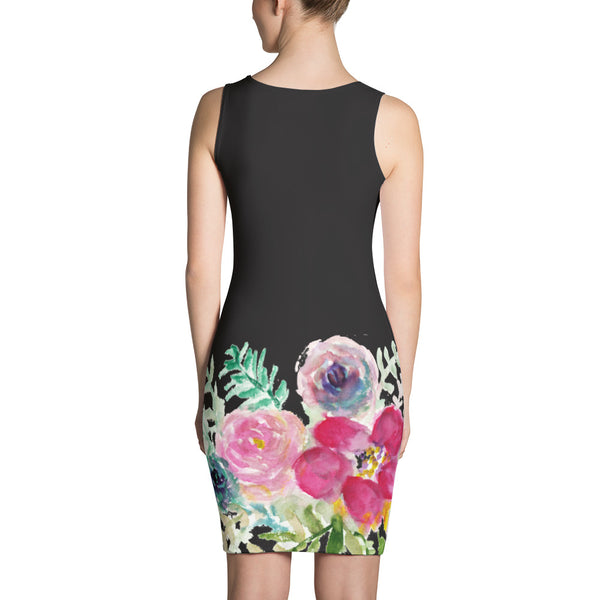 Red Rose Flower Black Floral Print Women's Sleeveless Designer Dress - Made in USA/EU-Women's Sleeveless Dress-Heidi Kimura Art LLC