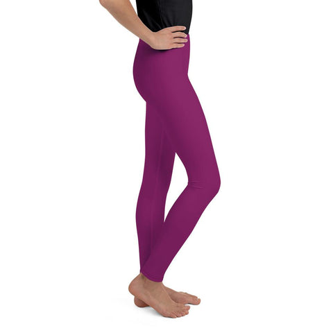 Dark Purple Solid Color Premium Youth Girl or Boy Gym Comfy Leggings - Made in USA-Youth's Leggings-Heidi Kimura Art LLC