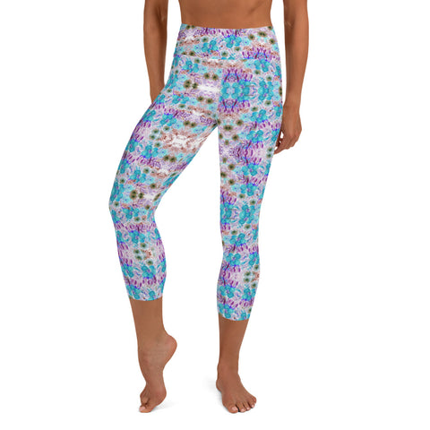 Floral Yoga Capri Leggings, Yoga Pants For Women-Heidikimurart Limited -XS-Heidi Kimura Art LLC Floral Yoga Capri Leggings, Blue Purple Capris Flower Print Women's Gym Capri Leggings Capris Luxury Yoga Pants - Made in USA/EU/MX (US Size: XS-XL)