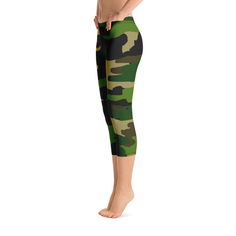 Hoshi Women's Military Camouflage Print Capri Designer Leggings Cotton Spandex - Made in USA
