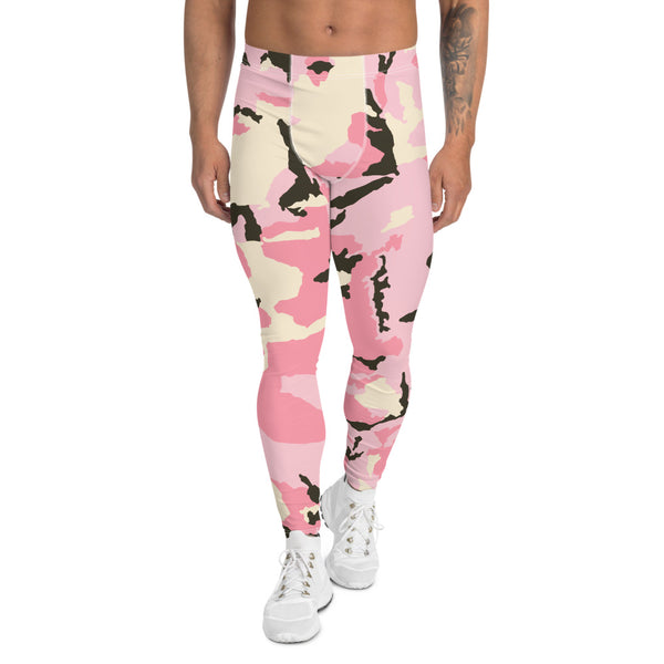 Pink Camo Print Men's Leggings, Camouflage Army Military Print Run Tights-Made in USA/EU-Heidikimurart Limited -XS-Heidi Kimura Art LLC Pink Camo Print Men's Leggings, Camouflage Army Military Print Men's Leggings, Camo Men's Modern Meggings, Men's Leggings Tights Pants - Made in USA/EU (US Size: XS-3XL) Sexy Meggings Men's Workout Gym Tights Leggings