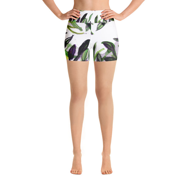 Green Purple White Tropical Leaves Print Yoga Shorts -Made in USA (US Size: XS-XL) - Heidi Kimura Art LLC