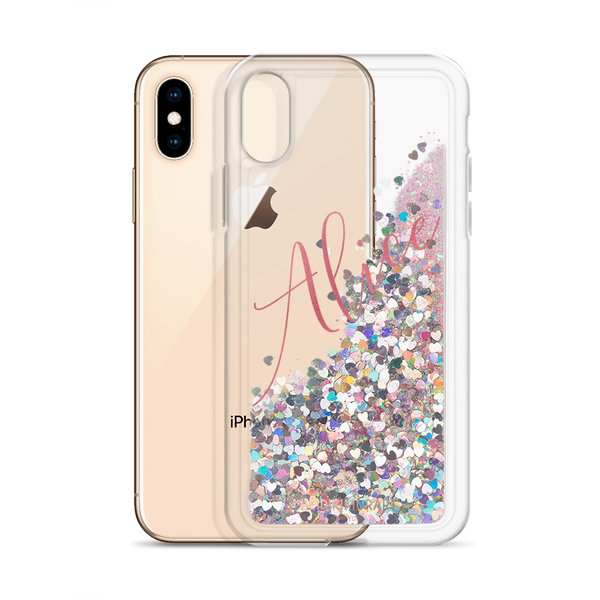 Pink Foil Custom Name Designer Shiny Liquid Glitter Phone Case-Made in USA-Phone Case-Pink-iPhone X/XS-Heidi Kimura Art LLC