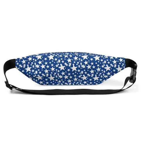Blue White Stars Pattern Print Designer Fanny Pack Waist Belt Shoulder Bag- Made in USA/EU-Fanny Pack-Heidi Kimura Art LLC