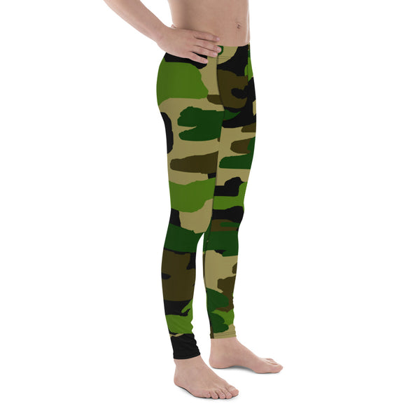 Camouflage Military Green Army Print Men's Yoga Pants Running Leggings Meggings-Men's Leggings-Heidi Kimura Art LLC Green Camouflage Print Meggings, Camouflage Military Green Army Print Men's Yoga Pants Running Leggings & Fetish Tights/ Meggings- Made in USA/ Europe (US Size: XS-3XL)