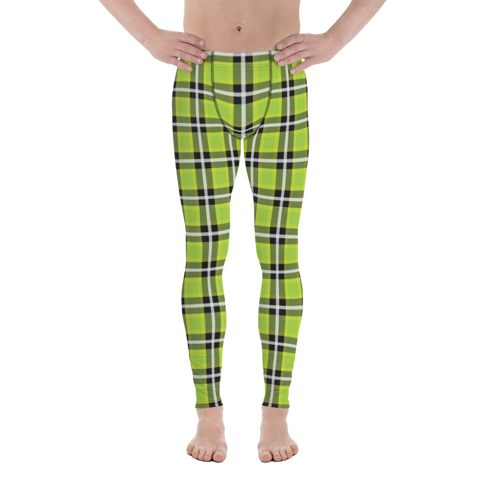 Green Plaid Tartan Print Meggings, Preppy Compression Pants Men's Leggings-Heidikimurart Limited -XS-Heidi Kimura Art LLC
