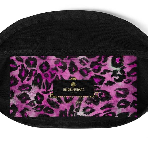 Pink Leopard Animal Print Designer Fanny Pack Over The Shoulder Bag- Made in USA/EU-Fanny Pack-Heidi Kimura Art LLC