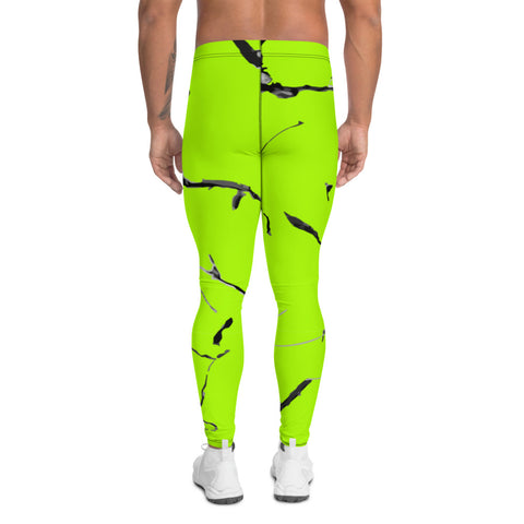 Neon Green Marble Men's Leggings, Bright Marble Print Meggings-Heidikimurart Limited -Heidi Kimura Art LLC Neon Green Marble Men's Leggings, Bright Marble Print Classic Premium Best Meggings Compression Tights Sexy Meggings Men's Workout Gym Tights Leggings, Men's Compression Tights Pants - Made in USA/ EU/ MX (US Size: XS-3XL)