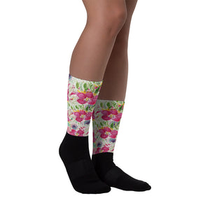 Pink Rose Floral Designer Black Foot Sublimated Socks - Made in USA/ Europe-Socks-M (6-8)-Heidi Kimura Art LLC