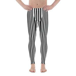 Vertical Stripes Print Men's Leggings, Essential Premium Striped Meggings-Heidikimurart Limited -XS-Heidi Kimura Art LLC
