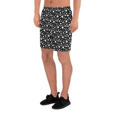 Black White Stars Print Pattern Men's Athletic Long Shorts With Pockets- Made in USA/EU-Men's Long Shorts-Heidi Kimura Art LLC Black White Stars Men's Joggers, Black White Stars Print Pattern Premium Quality Men's Athletic Long Fashion Shorts, Best Men's Workout Shorts (US Size: XS-3XL) Made in Europe