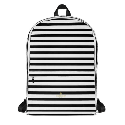 Black White Horizontal Stripe Print School Travel Work Laptop Backpack- Made in USA/EU-Backpack-Heidi Kimura Art LLC