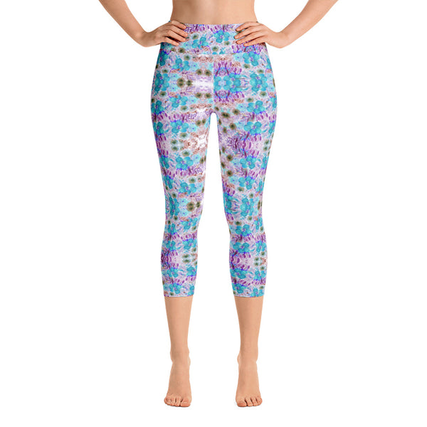 Floral Yoga Capri Leggings, Yoga Pants For Women-Heidikimurart Limited -Heidi Kimura Art LLC Floral Yoga Capri Leggings, Blue Purple Capris Flower Print Women's Gym Capri Leggings Capris Luxury Yoga Pants - Made in USA/EU/MX (US Size: XS-XL)