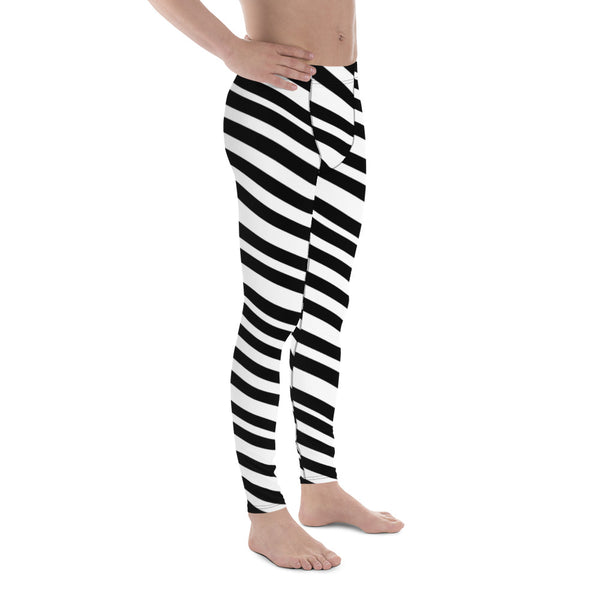 Black White Diagonally Striped Meggings, Men's Athletic Running Leggings-Made in USA/E-Men's Leggings-Heidi Kimura Art LLC