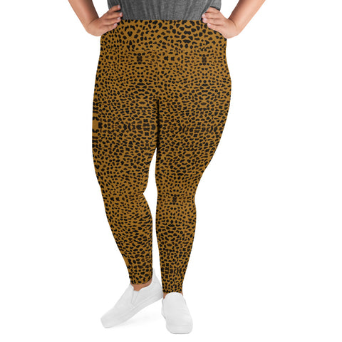 Cheetah Plus Size Leggings, Women's Animal Print Yoga Pants-Made in USA/EU-Heidi Kimura Art LLC-Heidi Kimura Art LLC Cheetah Plus Size Leggings, Women's Animal Print High Waist Premium Women's Long Yoga Tights Pants Plus Size Leggings- Made in USA (US Size: 2XL-6XL)