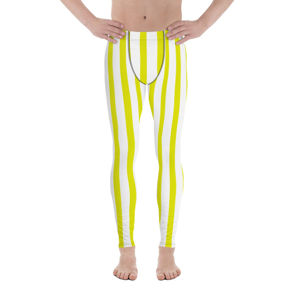 Yellow & White Stripes Men's Running Leggings & Run Tights Meggings-Made in USA/EU-Men's Leggings-XS-Heidi Kimura Art LLC