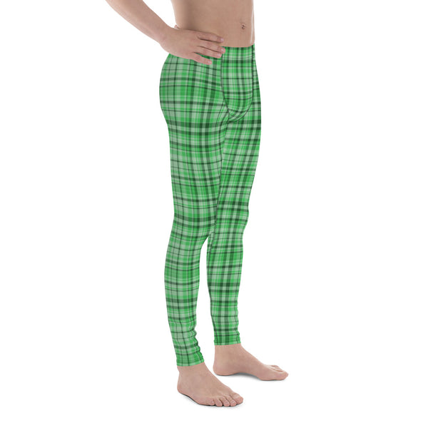 Light Green Tartan Plaid Men's Running Leggings & Run Tights Meggings Activewear-Men's Leggings-Heidi Kimura Art LLCGreen Plaid Meggings, Light Green Tartan Plaid Men's Running Leggings & Run Tights Meggings Activewear- Made in USA/ Europe (US Size: XS-3XL)