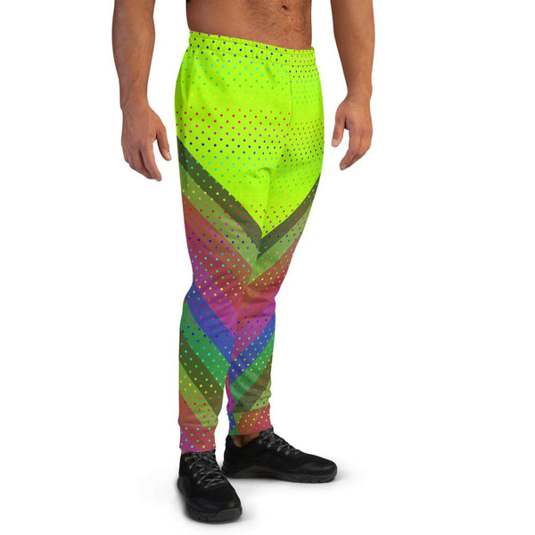 Neon Green Rainbow Polka Dots Print Party Men's Rave Party Joggers - Made in EU-Men's Joggers-Heidi Kimura Art LLC