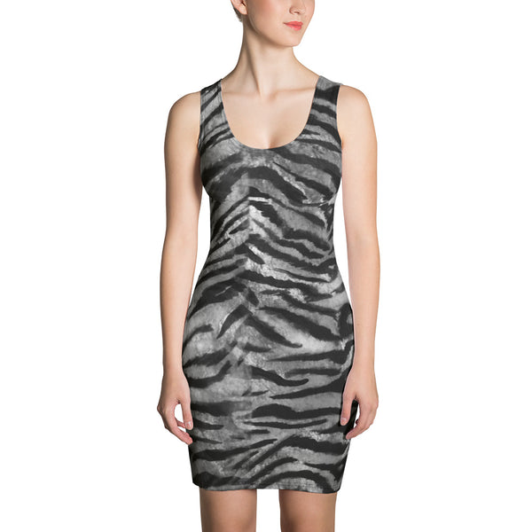 Grey Tiger Striped Women's Sleeveless Gray 1 Piece Tank Dress - Made in USA/ Europe-Women's Sleeveless Dress-XS-Heidi Kimura Art LLC