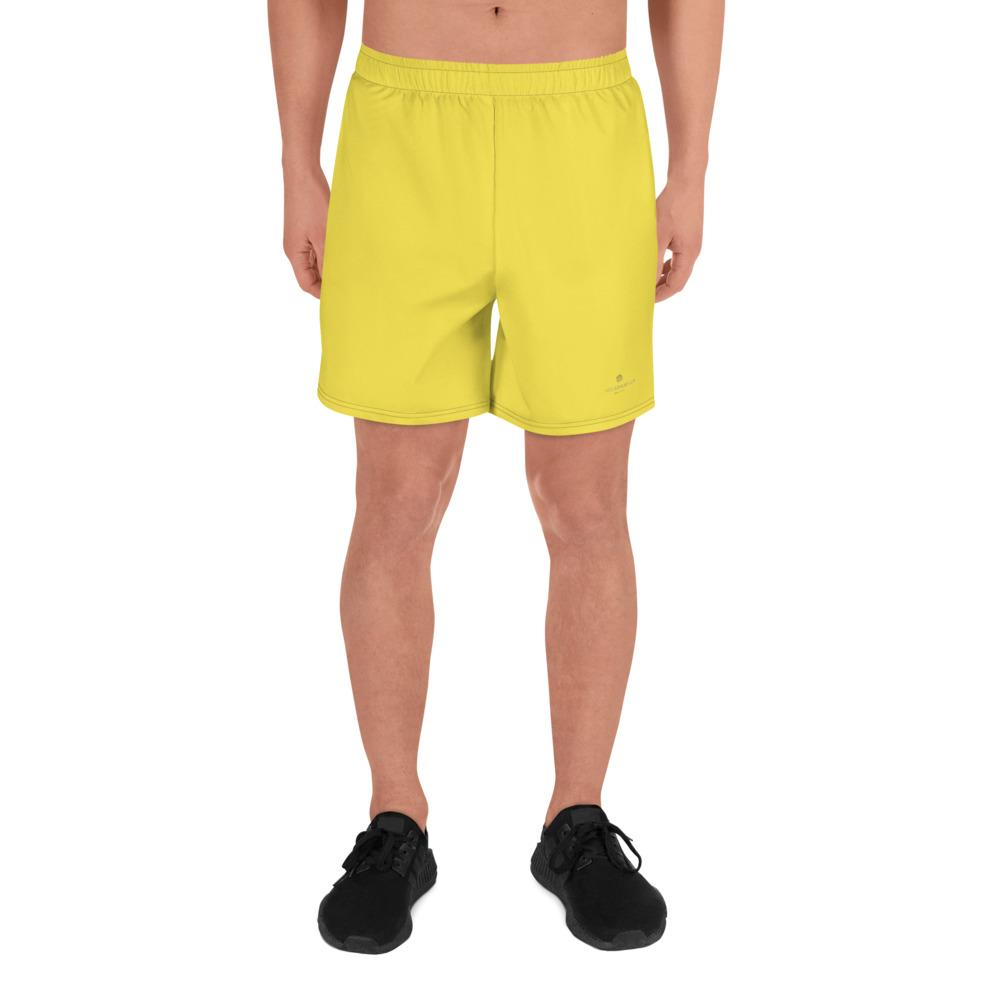 Bright Yellow Solid Color Premium Quality Men's Athletic Long Shorts- Made in Europe-Men's Long Shorts-XS-Heidi Kimura Art LLC