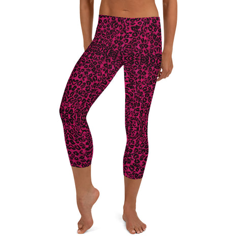 Pink Leopard Casual Capri Leggings, Women's Capris-Made in USA/EU-Heidi Kimura Art LLC-XS-Heidi Kimura Art LLC Pink Leopard Casual Capri Leggings, Animal Print Cute Designer Capri Designer Spandex Casual Casual Leggings - Made in USA/ EU (US Size: XS-XL), Leopard Animal Print Yoga Leggings, Women Workout Pants, Printed Capri Leggings