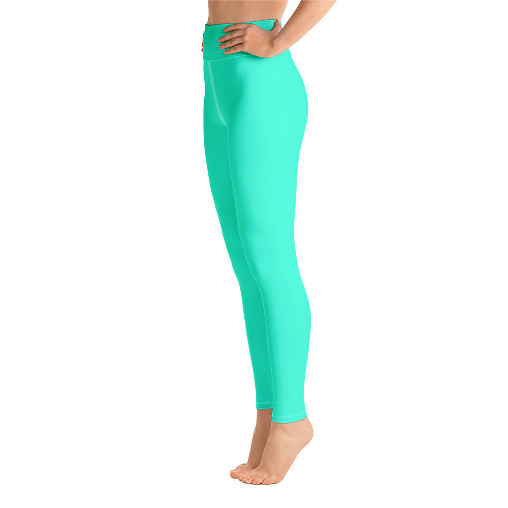 Women's Turquoise Blue Bright Solid Color Yoga Gym Workout Tights, Long Yoga Pants Leggings Pants,Plus Size, Soft Tights - Made in USA, Women's Turquoise Blue Solid Color Active Wear Fitted Leggings Sports Long Yoga & Barre Pants (XS-XL) Women's Turquoise Blue Bright Solid Color Yoga Gym Tights, Made in USA - Heidi Kimura Art LLC