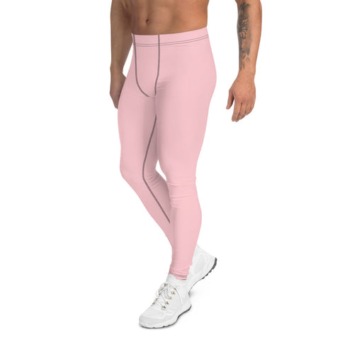 Light Pink Men's Leggings, Pastel Pink Meggings Compression Tights-Made in USA/EU-Heidi Kimura Art LLC-Heidi Kimura Art LLC Light Pink Men's Leggings, Pastel Pink Soft Sexy Meggings Men's Workout Gym Tights Leggings, Men's Compression Tights Pants - Made in USA/ EU (US Size: XS-3XL)