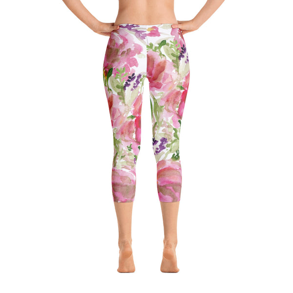 157c8299ead0b3 Ama Pink Princess Rose Floral Designer Casual Capri Leggings Activewear  Outfit - Made in USA (US Size: XS-XL)