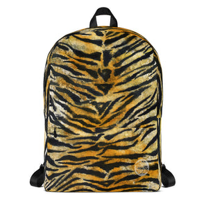 Brown Orange Bengal Tiger Striped Animal Print Designer Backpack Bag - Made in USA/EU-Backpack-Heidi Kimura Art LLC