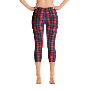 Red Plaid Print Women's Polyester Spandex Capri Leggings - Made in USA-capri leggings-XS-Heidi Kimura Art LLC